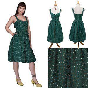 Collectif Jemima Polka Dot Swing Dress in Green